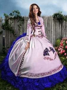 Most Popular Sleeveless Floor Length Embroidery and Ruffles Lace Up Quinceanera Dresses with Blue And White