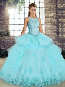 Sleeveless Lace and Embroidery and Ruffles Lace Up Quinceanera Gown