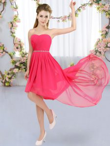 Exceptional Strapless Sleeveless Quinceanera Court of Honor Dress High Low Beading Hot Pink Chiffon