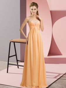 Custom Fit Orange Chiffon Lace Up Prom Gown Sleeveless Floor Length Beading