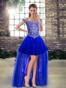 Ideal Tulle Off The Shoulder Sleeveless Lace Up Beading and Appliques Evening Dress in Royal Blue