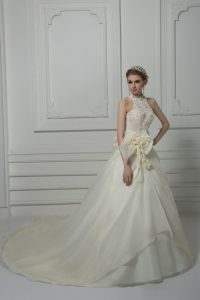 New Style White High-neck Zipper Beading and Lace and Hand Made Flower Wedding Gowns Court Train Sleeveless