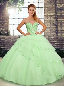 Yellow Green Tulle Lace Up Sweetheart Sleeveless Ball Gown Prom Dress Brush Train Beading and Ruffled Layers