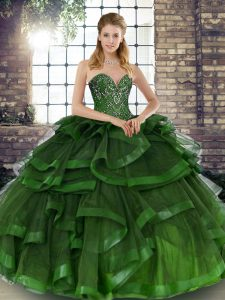 Wonderful Sleeveless Beading and Ruffles Lace Up Quinceanera Dress