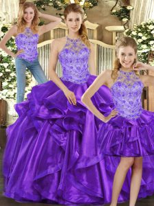 Chic Floor Length Purple Quinceanera Gowns Organza Sleeveless Beading and Ruffles