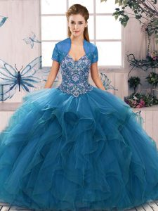 Sleeveless Tulle Floor Length Lace Up 15th Birthday Dress in Blue with Beading and Ruffles