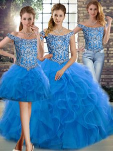Off The Shoulder Sleeveless Brush Train Lace Up Quinceanera Gown Blue Tulle