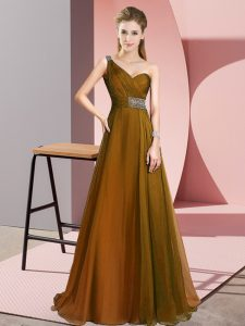 New Arrival Brown Empire Beading Prom Dress Criss Cross Chiffon Sleeveless