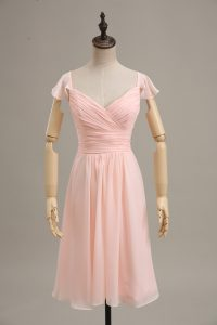 Pink Cap Sleeves Ruching Homecoming Dress