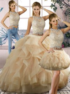 Suitable Sleeveless Beading and Ruffles Zipper Quinceanera Dress