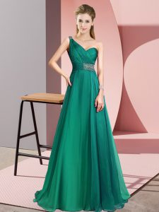 Spectacular Turquoise Prom Party Dress Chiffon Brush Train Sleeveless Beading