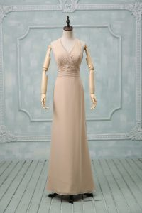 Champagne Column/Sheath Chiffon Halter Top Sleeveless Ruching Floor Length Backless Prom Dress