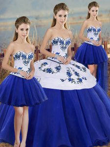 Sleeveless Lace Up Floor Length Embroidery and Bowknot Quinceanera Dresses