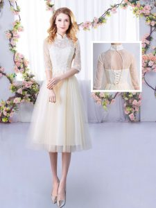 Champagne Damas Dress Wedding Party with Lace High-neck Half Sleeves Lace Up