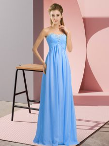 Beautiful Sweetheart Sleeveless Floor Length Beading Blue Chiffon