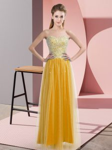 Perfect Sweetheart Sleeveless Prom Gown Floor Length Beading Gold Tulle