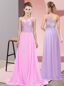 High Class One Shoulder Sleeveless Side Zipper Formal Dresses Pink Chiffon