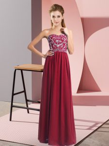 Wine Red Empire Sweetheart Sleeveless Chiffon Floor Length Lace Up Beading Pageant Dress Wholesale