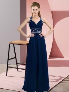 Graceful Floor Length Backless Prom Evening Gown Navy Blue for Prom and Party with Beading