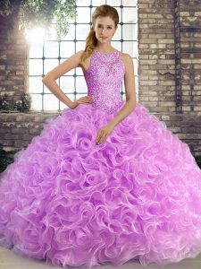 Lilac Fabric With Rolling Flowers Lace Up Scoop Sleeveless Floor Length Quinceanera Gown Beading