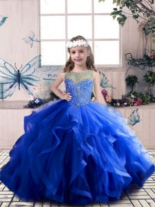 Royal Blue Lace Up Scoop Beading and Ruffles Pageant Gowns Tulle Sleeveless