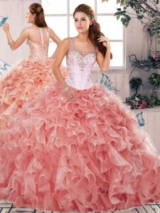 Discount Organza Scoop Sleeveless Clasp Handle Beading and Ruffles Quinceanera Dress in Watermelon Red