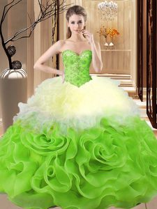 Multi-color Lace Up Sweet 16 Dress Beading and Ruffles Sleeveless Floor Length