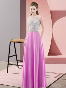 Lilac Empire Beading Evening Gowns Backless Satin Sleeveless Floor Length