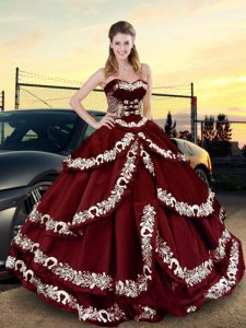 Wine Red Ball Gowns Satin Sweetheart Sleeveless Embroidery and Ruffled Layers Floor Length Lace Up Sweet 16 Dresses