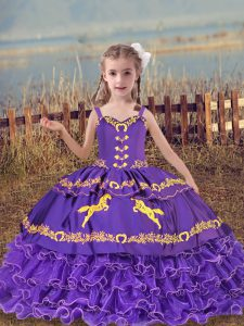 Gorgeous Ball Gowns Pageant Dress Wholesale Lavender Straps Organza Sleeveless Floor Length Lace Up