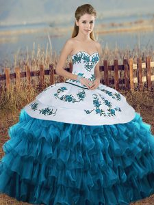Shining Ball Gowns 15th Birthday Dress Blue And White Sweetheart Organza Sleeveless Floor Length Lace Up