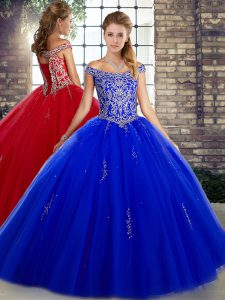 Hot Sale Beading 15 Quinceanera Dress Royal Blue Lace Up Sleeveless Floor Length