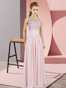 Inexpensive Floor Length Pink Prom Party Dress Chiffon Sleeveless Beading