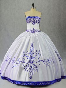 Blue And White Ball Gowns Embroidery Quinceanera Gown Lace Up Satin Sleeveless Floor Length