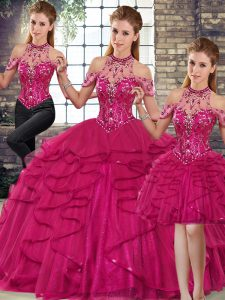 Fashionable Floor Length Three Pieces Sleeveless Fuchsia Sweet 16 Dress Lace Up
