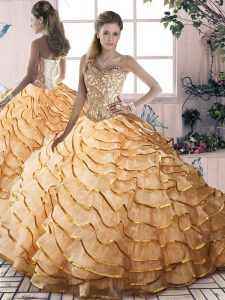 High End Sweetheart Sleeveless Organza Vestidos de Quinceanera Beading and Ruffled Layers Brush Train Lace Up