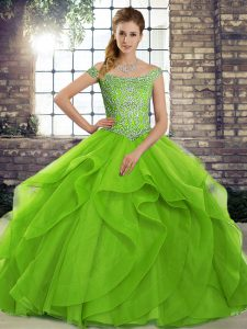 Graceful Green Sleeveless Brush Train Beading and Ruffles Quince Ball Gowns