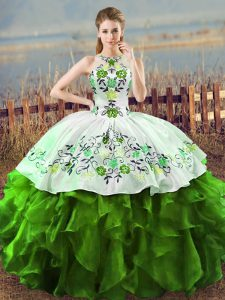Green Ball Gowns Embroidery and Ruffles Sweet 16 Dresses Lace Up Sleeveless Floor Length
