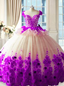 White And Purple Ball Gowns Hand Made Flower Ball Gown Prom Dress Zipper Tulle Sleeveless
