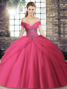 Cheap Hot Pink Ball Gowns Off The Shoulder Sleeveless Tulle Brush Train Lace Up Beading and Pick Ups Sweet 16 Dresses