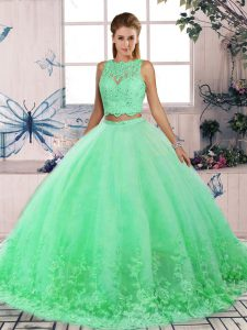 Dynamic Turquoise Scalloped Neckline Lace Sweet 16 Dresses Sleeveless Backless