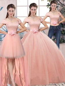 Off The Shoulder Short Sleeves Tulle Ball Gown Prom Dress Lace and Hand Made Flower Lace Up