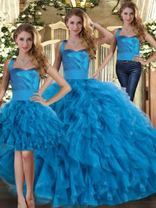Blue Tulle Lace Up Quinceanera Gowns Sleeveless Floor Length Ruffles