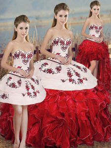 High Class Organza Sweetheart Sleeveless Lace Up Embroidery and Ruffles and Bowknot Quinceanera Gown in White And Red