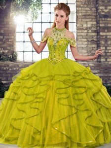 Olive Green Lace Up Halter Top Beading and Ruffles Quinceanera Gown Tulle Sleeveless