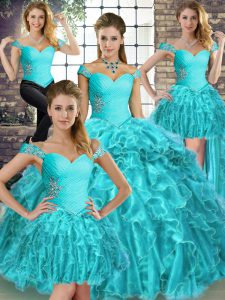 Elegant Aqua Blue Sleeveless Organza Brush Train Lace Up Ball Gown Prom Dress for Military Ball and Sweet 16 and Quinceanera