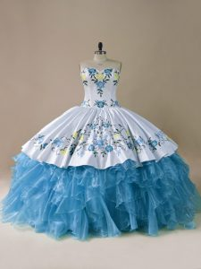Organza Sweetheart Sleeveless Lace Up Embroidery and Ruffles Sweet 16 Dresses in Blue