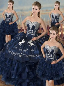 New Arrival Navy Blue Ball Gowns Organza Sweetheart Sleeveless Embroidery and Ruffles Floor Length Lace Up Quinceanera Dress