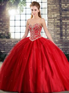 Luxury Sleeveless Brush Train Lace Up Beading 15 Quinceanera Dress