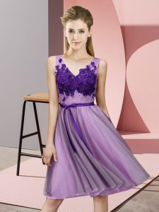 Inexpensive Lavender Sleeveless Appliques Knee Length Vestidos de Damas